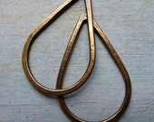 Antiqued Brass Teardrop Hoop Findings - 1 pair - 35mm in length