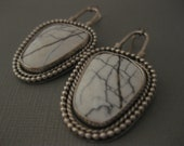 White Buffalo Turquoise Southwest Sterling Silver Statement Earrings