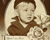 Love To All At Home Vintage Real Photo Postcard 1943 Young Boy Roses and Charming Verse