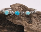 Pilot Mountain Turquoise Flower Stacker Cuff M/L