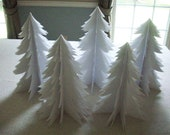 Christmas--Five Beautiful White Paper Trees