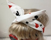 Wonderland Wired Headband Dolly Bow - white cotton with card symbols