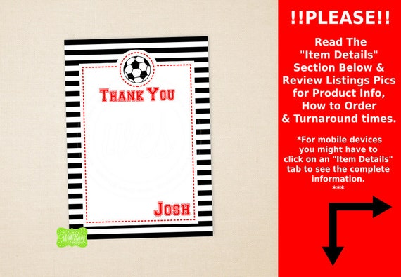 Soccer Thank You Card Sports Thank You Card Soccer Note Card