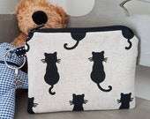Handmade Cat zipped fabric coin purse pouch black cat linen style fabric hearing aid case pocket money keyring charm