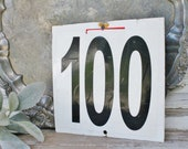 Vintage Metal Number Sign Farmhouse French Country Chic Black White 100