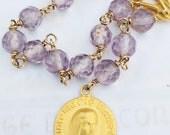 Chaplet - French Amethyst Crystal Sainte Marie Madeleine - 18K Gold Vermeil