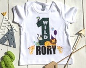 Wild One Jungle Tshirt Jungle Theme First Birthday Outfit Kids Custom Shirt First Birthday Party My 1st Birthday Sons 1st Birthday