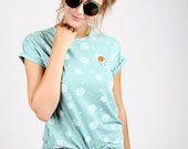 "MEKO ""Tricky"" Longshirt Damen Mint Weiß Pusteblume Blumen T-Shirt White Dandelion"