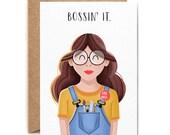 Bossin' It - Girl Boss - Greetings Card - New Job - Girl Power - Birthday Card - Just Because - Blank Card - Folio - thisisfolio
