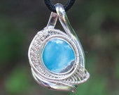 Kingman Turquoise Wire Wrapped Pendant in Sterling Silver