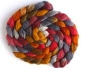 BFL/Silk Roving - Handpainted Spinning or Felting Fiber, Foggy Fall Morning