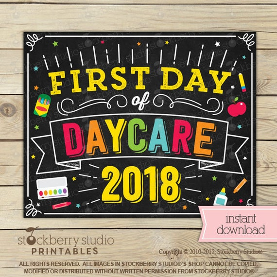 first day of daycare sign 1st day of daycare sign first day of
