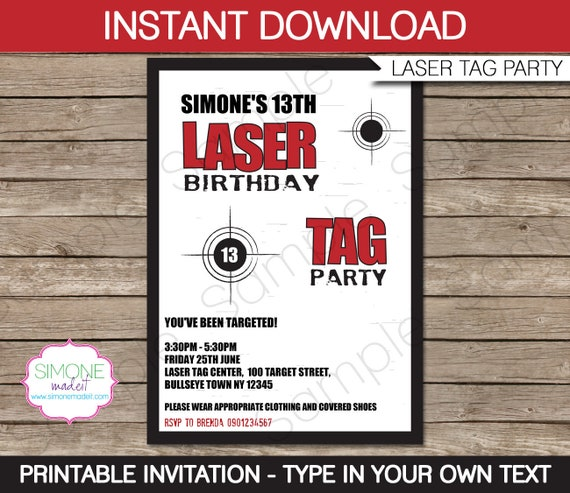 Laser Tag Invitation Template - Birthday Party - INSTANT DOWNLOAD ...