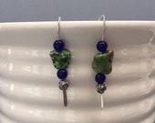Modernist Earrings Blue Green Drop Earrings Indigo Blue Long Hook Dangles Wires Modern Jewelry