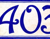 Rustic and strong porcelain cobalt blue house number plaque, Hand painted Italian address sign, Outdoor house numbers, Housewarming gifts.