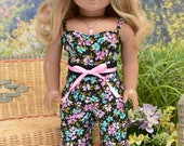 Culotte JUMPSUIT in Black Pink and Aqua with NECKLACE and SANDALS Option for 18 Inch Doll like American Girl