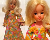 1970s Sindy Fashion Doll Maxi Dress, Psychedelic Print, Hippy, Barbie Clothing, Maddie Mod, Clone Doll