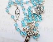 Necklace - French Blue Glass Rosary Fish & Holy Spirit - Sterling Silver