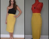 Bright Yellow Vintage 80s 90s Jaques Vert Wool High Waist Pencil Skirt Size 10
