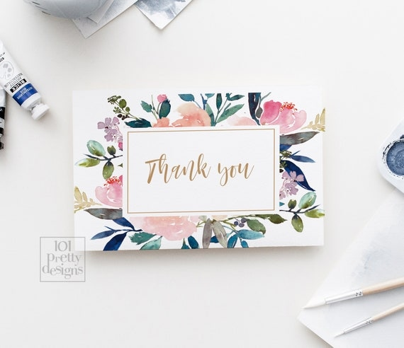 watercolor thank you cards printable thank you floral thank you
