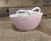 601 Pink Decorative Rope Basket with Pretty bow
