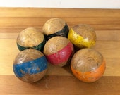25% Off SALE Vintage Antique Wood Croquet Balls, Set of 6