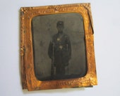 "Antique Civil War Soldier Tintype Photo in Uniform with Gun ""Grandad Patrick"" from Oregon, Illinois Estate"