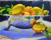 Original Painting of MEYER LEMONS in SILVER,lemon fruit art,Kitchen Lemon Fruit Decor, Kitchen, Lemon Fruit Wall Art, Lemon Painting