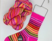 Pre-Order 1  Bodacious Tatas, Tits Out Collective: Self Striping Fingering Weight Sock Yarn, Wool and Nylon, 20 Color Stripe, Hand Dyed