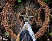 OOAK Handmade Vine Triple Moon Witches Wreath With Handmade Witch. Door Or Wall Hanging Pagan Wiccan Home Blessing / Handfasting Gift