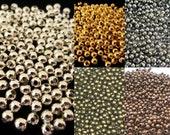 250 / 1000 Spacer Metallperlen  ca 3mm Kugeln Perlen rund Farbwahl Farbe silber gold schwarz grau bronze kupfer Schmuckzubehör