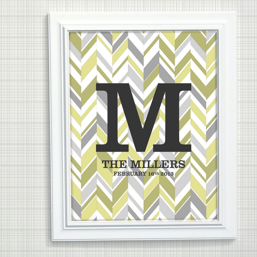 Personalized Girls Nursery Art - Chevron Art, Pink and Gray Girls Monogram Art, New Baby Gift,  8x10 print