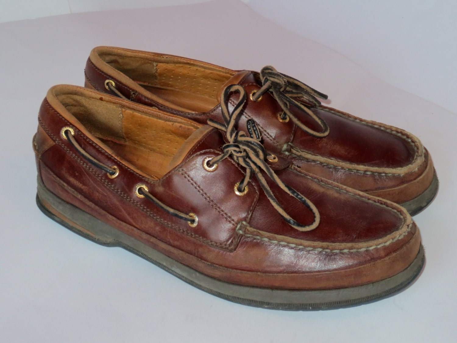 vintage brown sperry loafers boat shoes by