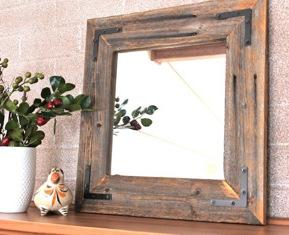 Ready to ship rustic modern mirror reclaimed wood by for Modern house 18x18