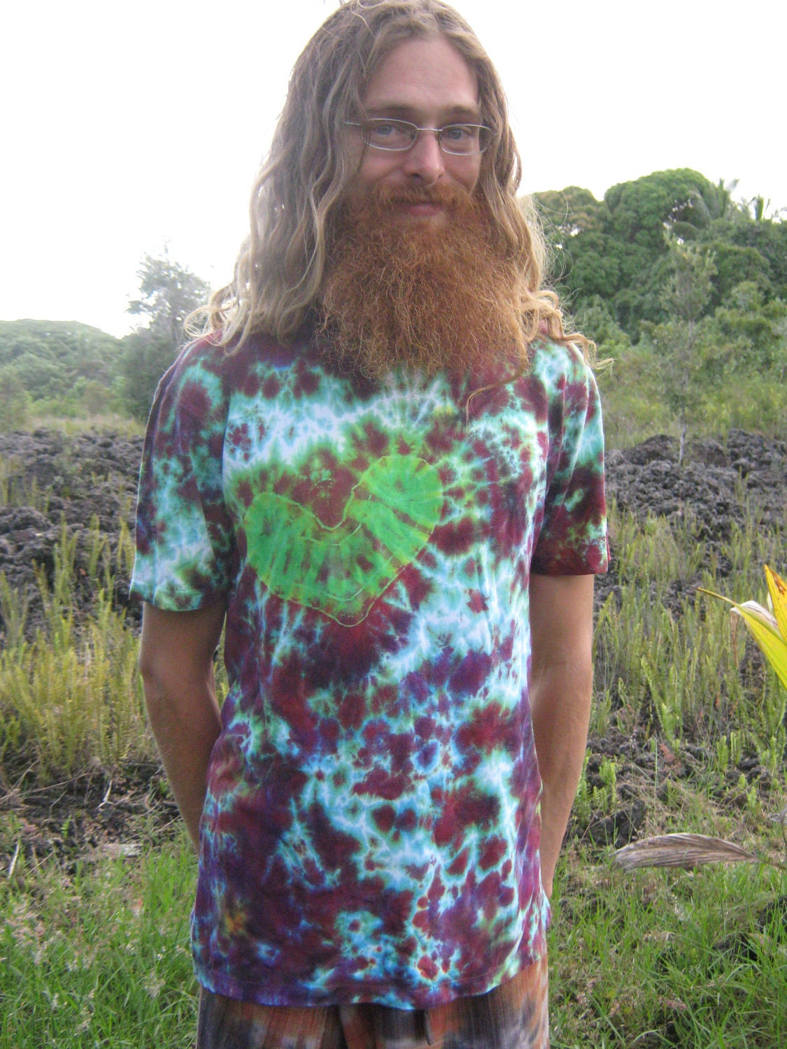 Green Heart, Mushroom, Orb Bamboo Tie dye, Adult Medium