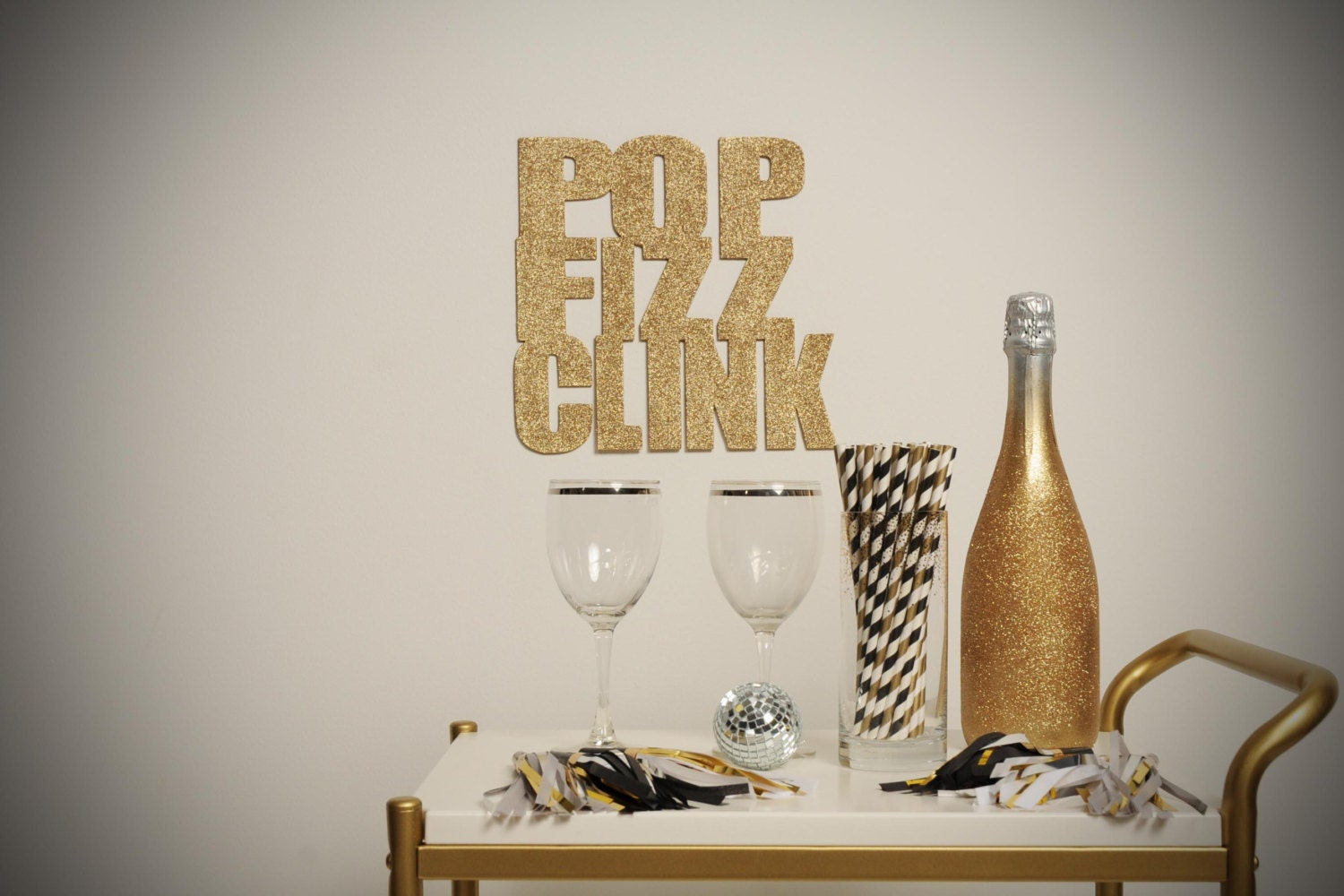 SALE Pop Fizz Clink gold glitter sign New Years Eve - StephShivesStudio