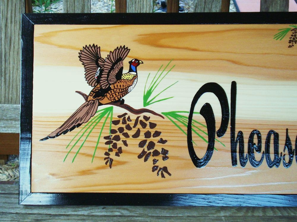 Items Similar To Home Decor Custom Wood Sign Personalized Pheasant