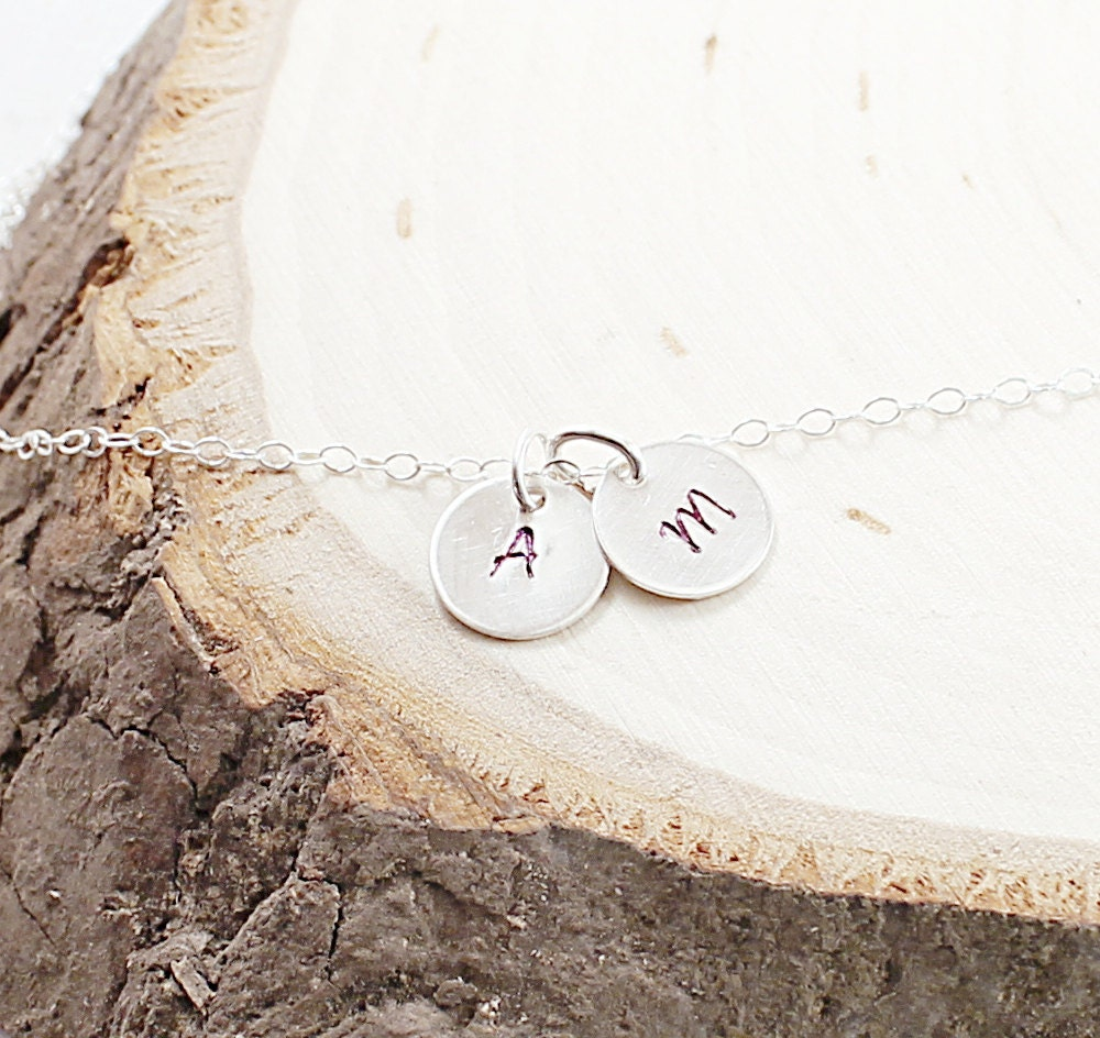 Personalized necklace - two initial necklace sterling silver jewelry engraved pendant for men - NatureLook