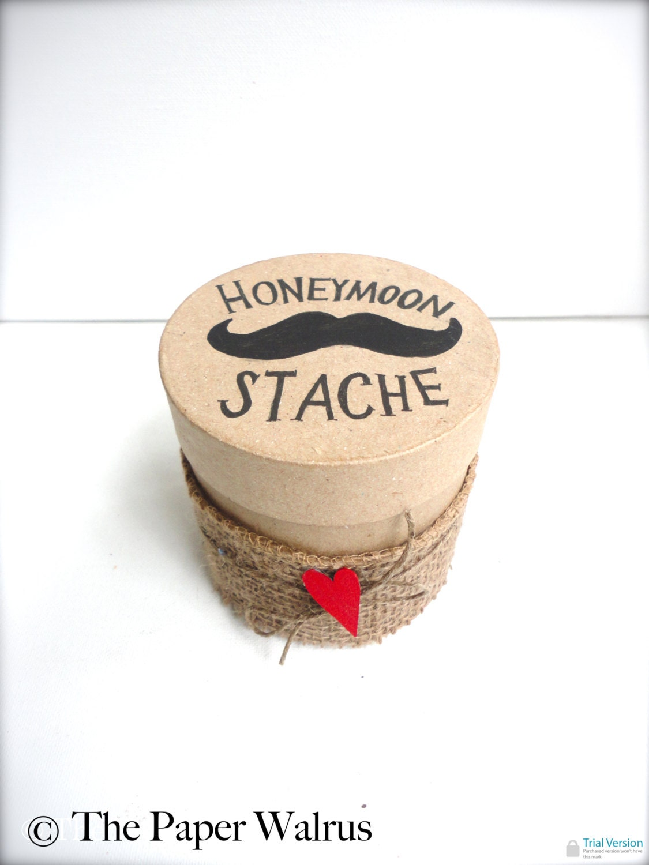 Mustache Honeymoon Fund Box with Burlap - Custom Color Options