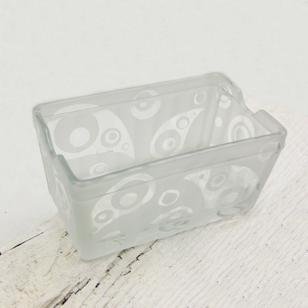 Paisley and Dots Etched Glass Business Card or Sugar Holder