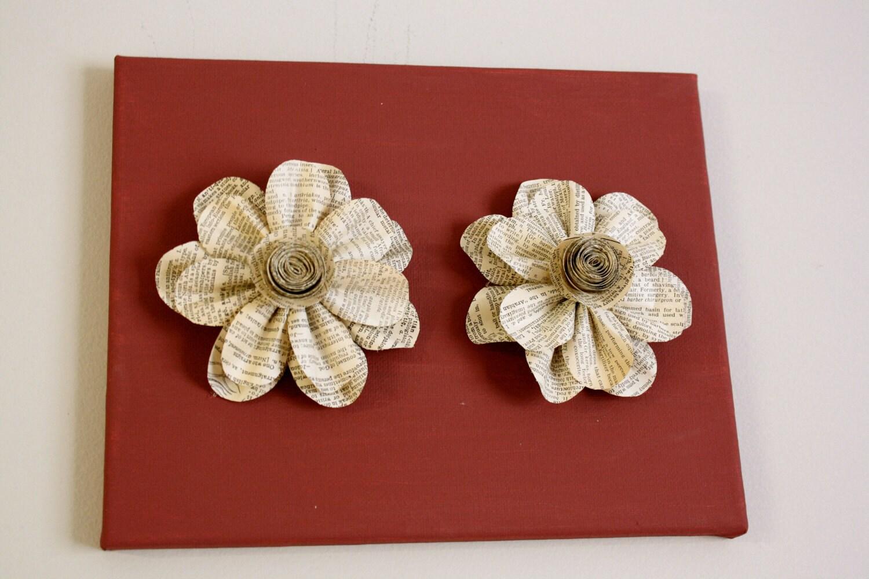 Maroon Холст с бумажными цветок