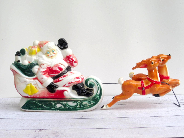 santas sleigh and reindeer lighted blow mold by lovebutlervintage. Black Bedroom Furniture Sets. Home Design Ideas
