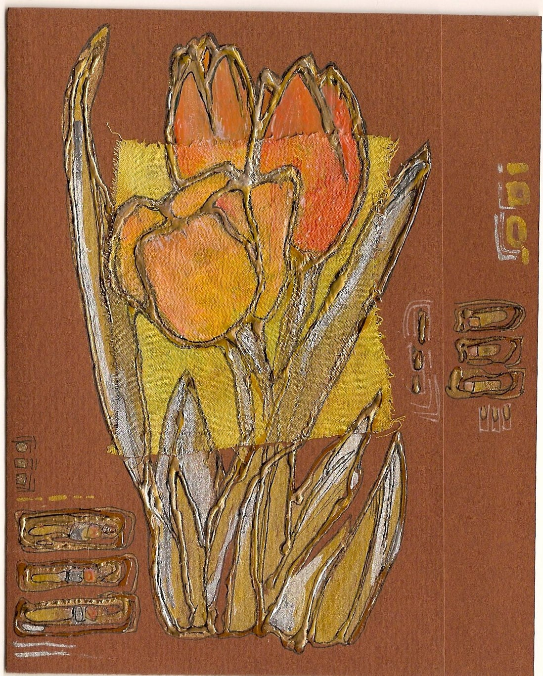 Orange tulips - blank greeting card for any occasion