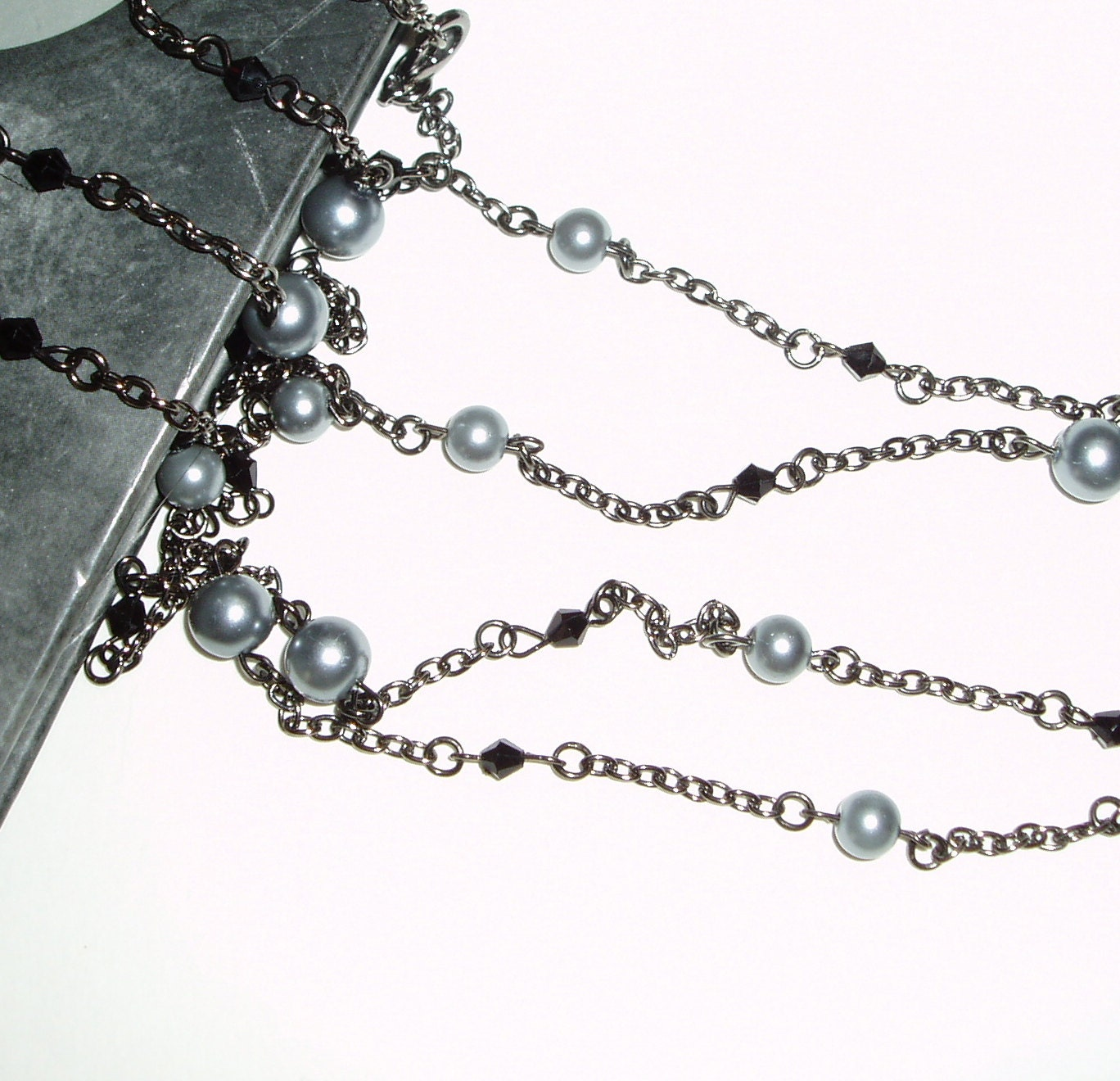 Long Gray and Black Necklace - Double Strand Gray and Black Beaded Necklace on Gunmetal Chain - ChathamsCrossing
