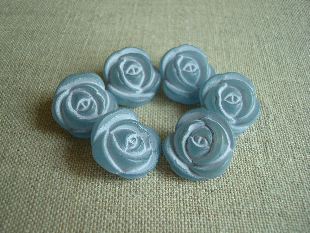 Realistic blue rose buttons, vintage old stock