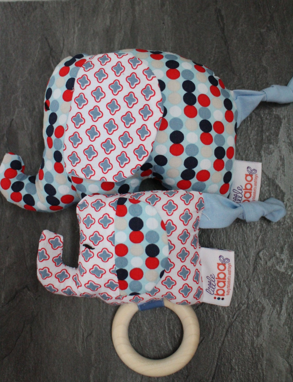 Baby Gift set  Elephant rattle and teething toy sensory toy Baby Shower gift