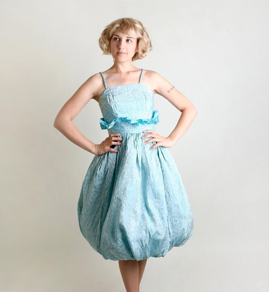 1960s Party Dress - Vintage Powder Blue Floral Brocade Teardrop Skirt Dress - Small Medium - zwzzy