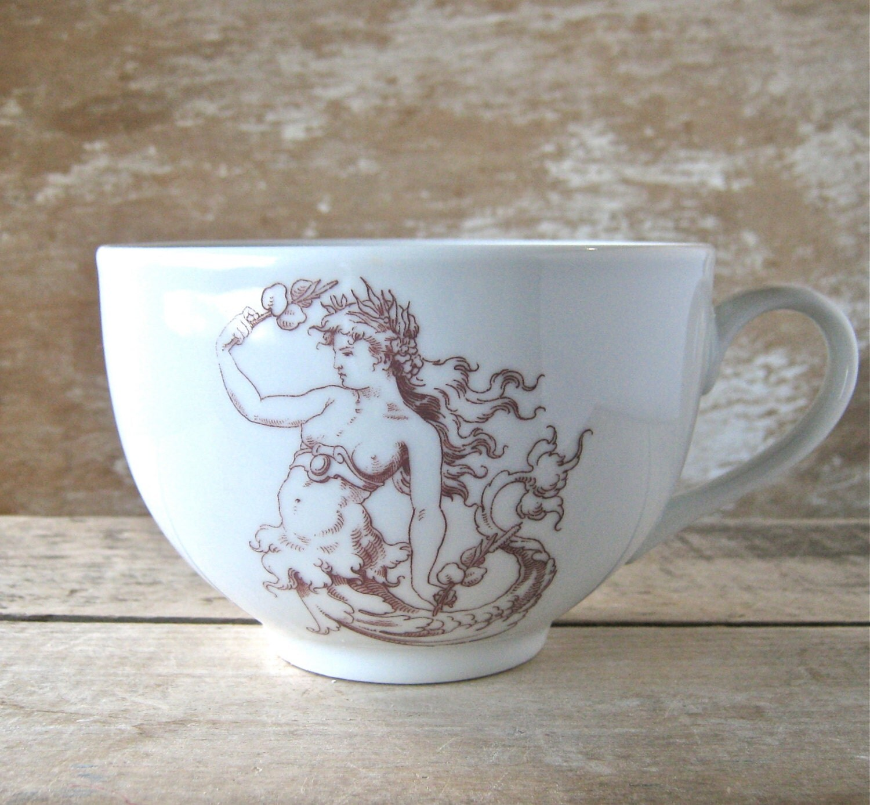 Mug with Mermaid, Mermaids on Coffee Mug, 23 oz Porcelain Cappuccino Cup, HUGE Big Mug,  Ready to Ship