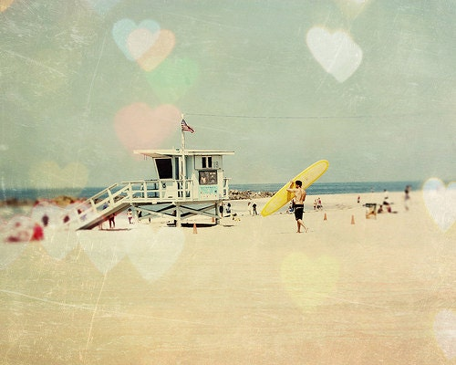 California Photography, Surf, Hearts, Bokeh, fpoe, Surfer, Wall Decor, Childrens Room, Summer - I Love Surfing  (8x10) - Fine Art Print - urbandreamphotos