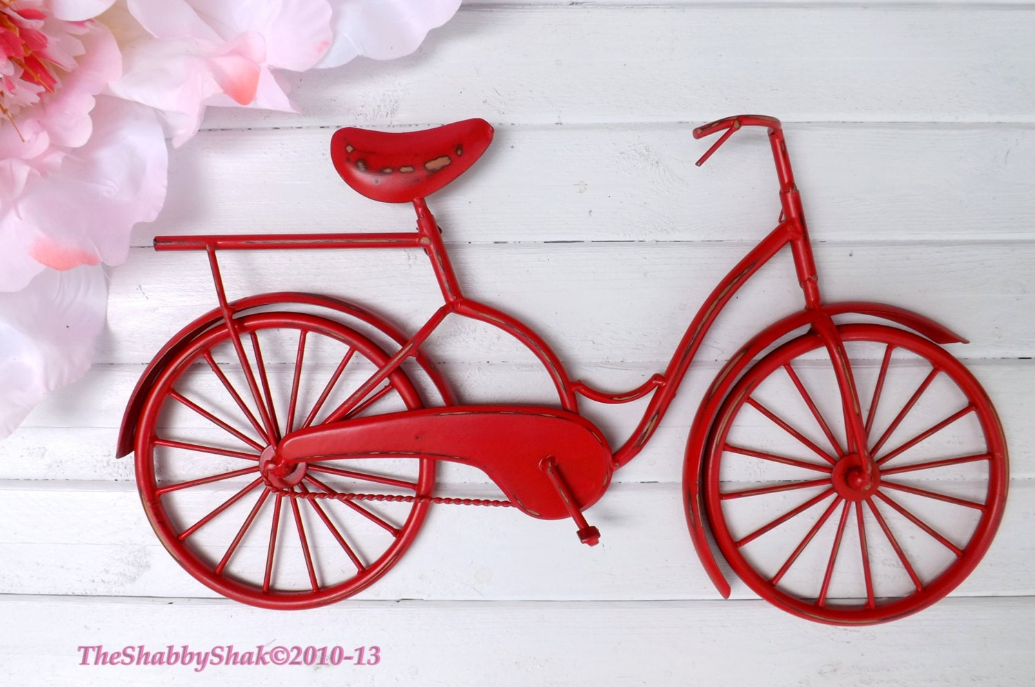 Wall Art Metal Bicycle : Bicycle wall art red decor metal by